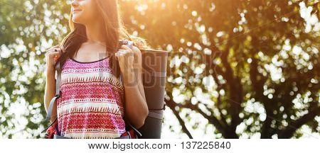 Girl Standing Backpacker Travel Wanderlust Concept
