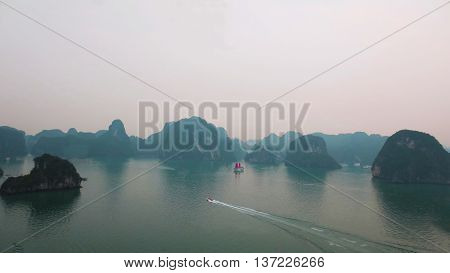 Birds eye view of Ha Long Bay near Hanoi, in Vietnam.