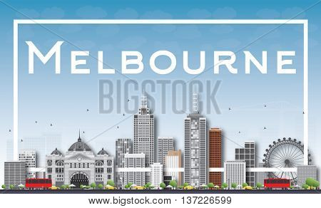 Melbourne Skyline with Gray Buildings and White Frame. Business Travel and Tourism Concept with Modern Buildings. Image for Presentation Banner Placard and Web Site.