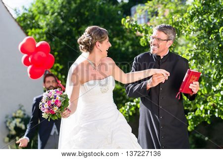 Bride running away with priest after wedding