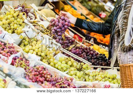 Pregnant woman shopping groceries on farmers market