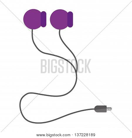 simple flat design earphones with cord icon vector illustration