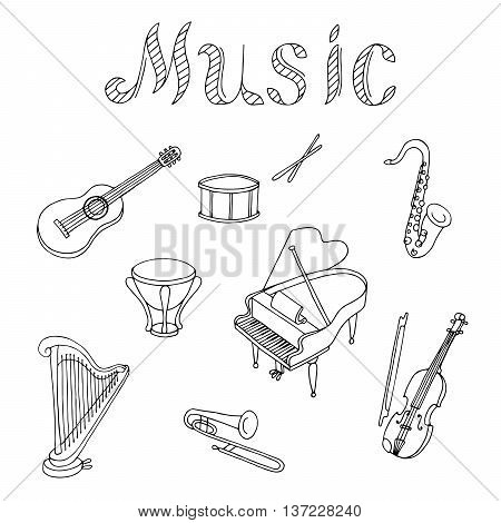 Music instrument set graphic art black white isolated illustration vector