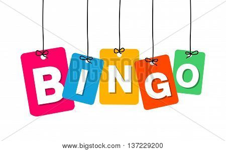 Vector colorful hanging cardboard. Tags - bingo on white background