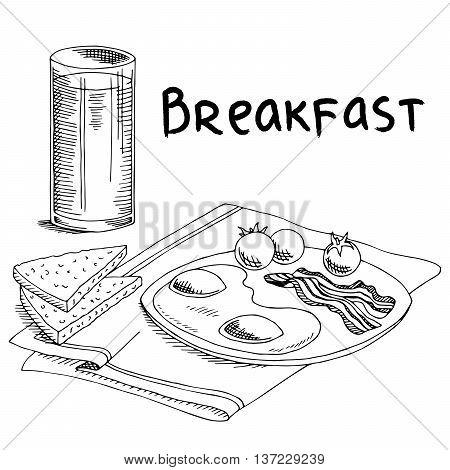 Breakfast food omelet bread graphic art black white sketch illustration vector