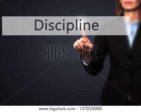 Discipline - Business Woman Point Finger On Push Touch Screen And Pressing Digital Virtual Button.
