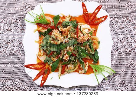 Special octopus salad  that serving in the restaurant