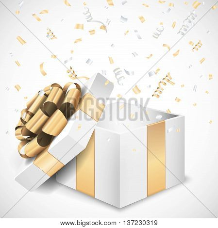 White gold open gift box and confetti