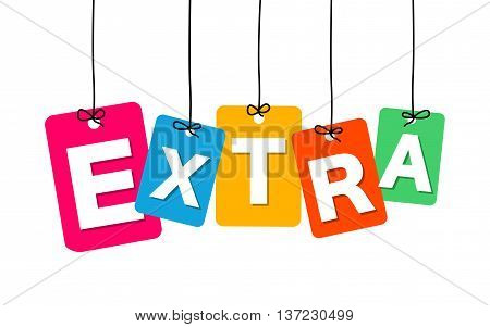 Vector colorful hanging cardboard. Tags - extra on white background
