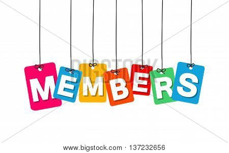 Vector colorful hanging cardboard. Tags - members on white background