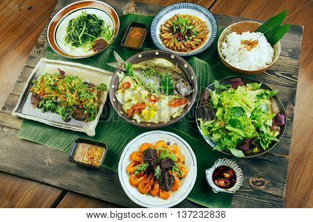 A traditional Vietnamese tray of meal for dinner or lunch