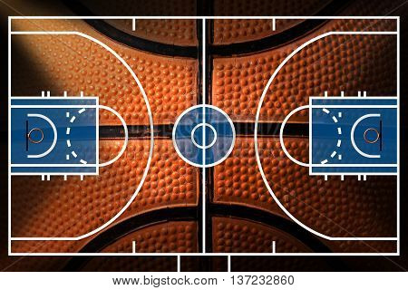 3D Illustration of a basketball court with detail of a black and orange basketball
