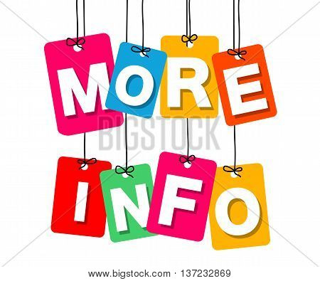 Vector colorful hanging cardboard. Tags - more info on white background