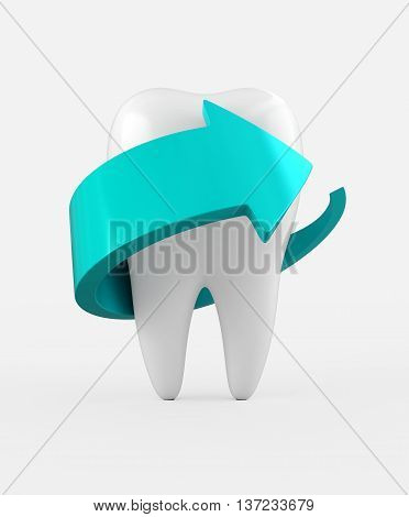 3D Illustration Of Tooth Protection And Whitening.