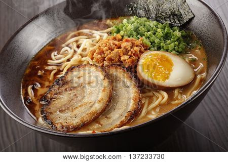 Classic Tantanmen a rich miso-based broth infused with ground pork and egg
