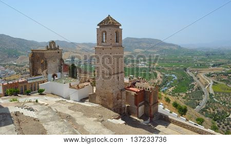 Alora castle and surrounding countryside Andalucia Spain.