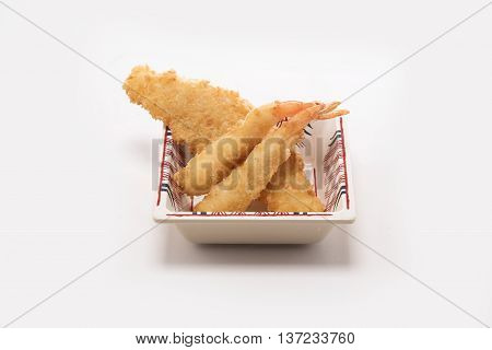Shrimp and fish in batter floured and fried