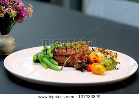 Grilled beef on the dish that serving in the restaurant