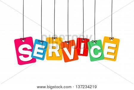 Vector colorful hanging cardboard. Tags - service on white background