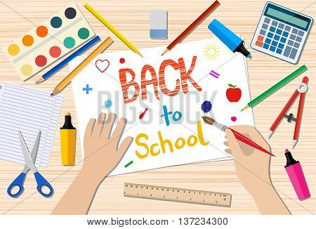 Back to school drawing. vector illustration in flat design