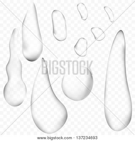 Pure clear water drops or raindrops realistic set isolated. vector 3d illustration. transparent
