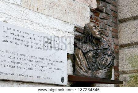 VERONA, ITALY - JUNE 10, 2013:Shakespeare Bust in the town of Verona