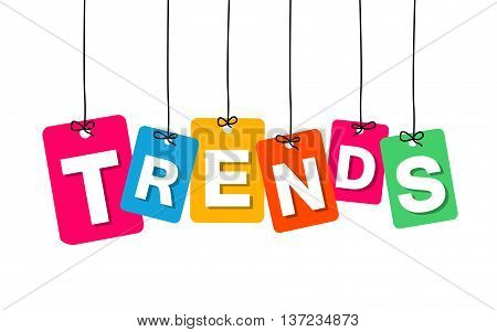 Vector colorful hanging cardboard. Tags - trends on white background