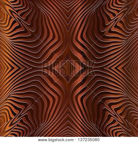 texture pattern illusion of the lines in the form of a symmetrical convex rhombus in a square