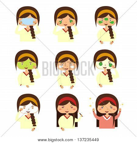 Instructions to wash face of woman. Woman washes her face with water and a shave. Girl cares for the person doing facials causes mask on the face. Vector illustration flat design style