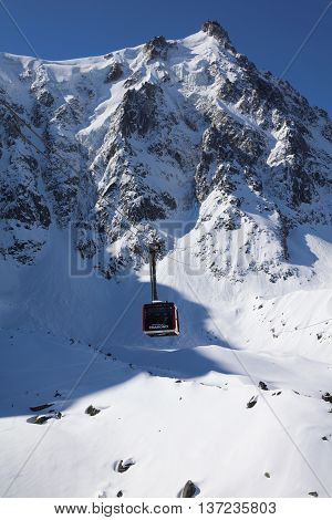 Chamonix-Mont-Blanc, France - May 20, 2016: Cable Car at Aiguille de Midi (3842m) in the Mont Blanc Massif.