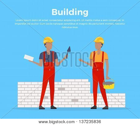 Building banner web design flat style. Working in a helmet with a shovel. Construction and builder holding brick and trowel. Mans workers is standing near the unfinished brick walls vector illustration