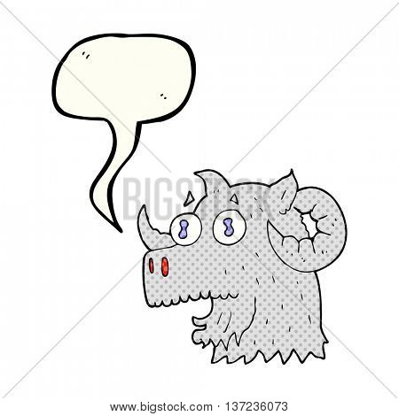 freehand drawn comic book speech bubble cartoon ram head