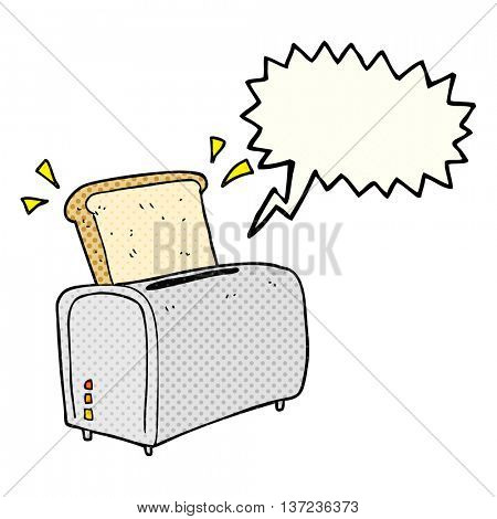 freehand drawn comic book speech bubble cartoon toaster