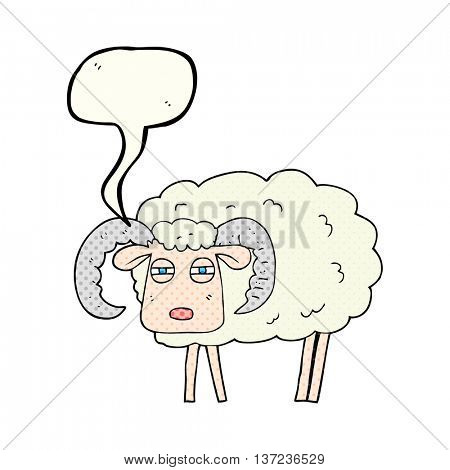 freehand drawn comic book speech bubble cartoon ram