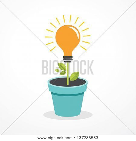 Growing idea - concept icon of education, light bulb, science