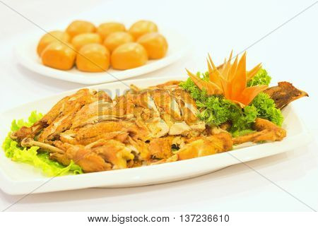 Fried chicken with dumplings that serving in the restaurant