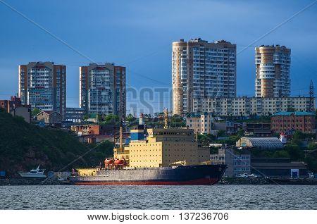 Tanker in the port of city Vladivostok