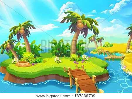 Happy Tropical Sand Beach Coast. Video Game Digital CG Artwork, Concept Illustration, Realistic Cartoon Style.