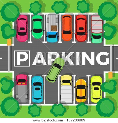 City parking vector. Shortage parking spaces, transport boom concept. Large number of cars in a crowded parking. Urban infrastructure vector illustration in flat design.