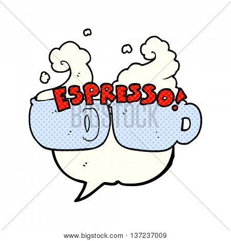freehand drawn comic book speech bubble cartoon espresso