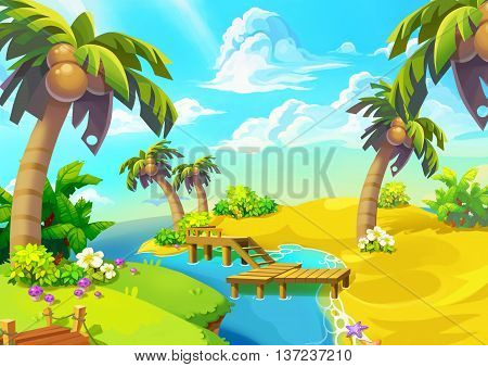 Happy Tropical Sand Beach Coast 2. Video Game Digital CG Artwork, Concept Illustration, Realistic Cartoon Style.