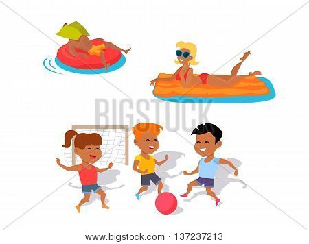 Summer fun concept illustration. Beach entertainments and games vector in flat style design. Man and woman swimming on inflatable mattresses. Two boys and girl playing ball. On white background.