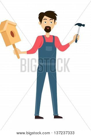 Subject of labor education conceptual banner design flat style. Teacher teaches students to build a birdhouse made of wood with a hammer. Labor education work and study lesson, vector illustation