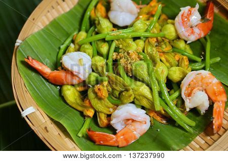 Stir-fried pumpkin flower with shrimp that serving in the restaurant