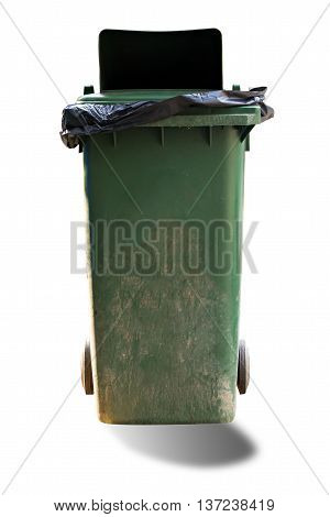 Old Large Green Wheel Bin Isolated On White