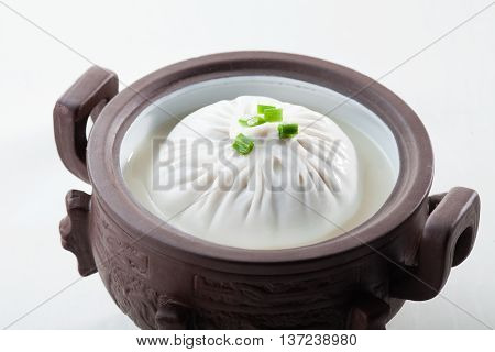Traditional Chinese white dumpling that serving in the restaurant