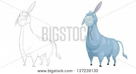 Donkey. Coloring Book, Outline Sketch, Animal Mascot, Game Character Design isolated on White Background