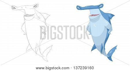 Axe Headed Shark. Coloring Book, Outline Sketch, Animal Mascot, Game Character Design isolated on White Background
