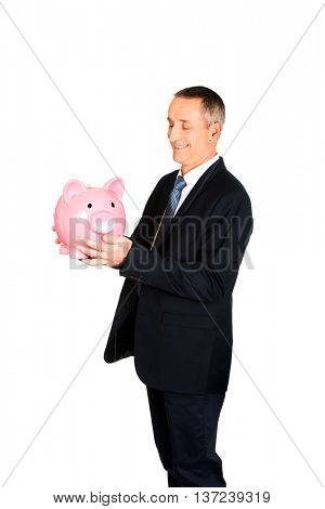Businessman with big piggybank