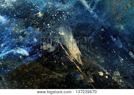 abstract painting with blurry and stained structure. Color effect and Computer collage. winter freeze effect